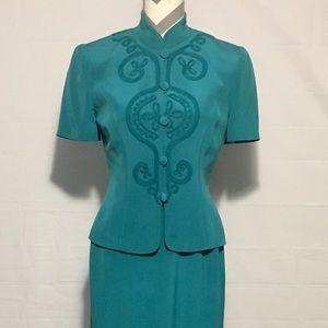 Maggy London Green 100% Silk 2 Piece Dress Women 4